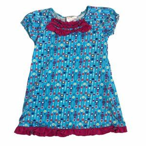 HANNA ANDERSSON BLUE PINK FLORAL RUFFLE DRESS 4T
